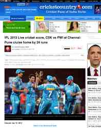 IPL 2013 Live cricket score CSK vs PWI: Cricket Country